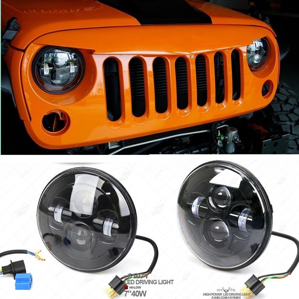 "sealed beam plug and play 7"" round 45w jeep wrangler led headlight"