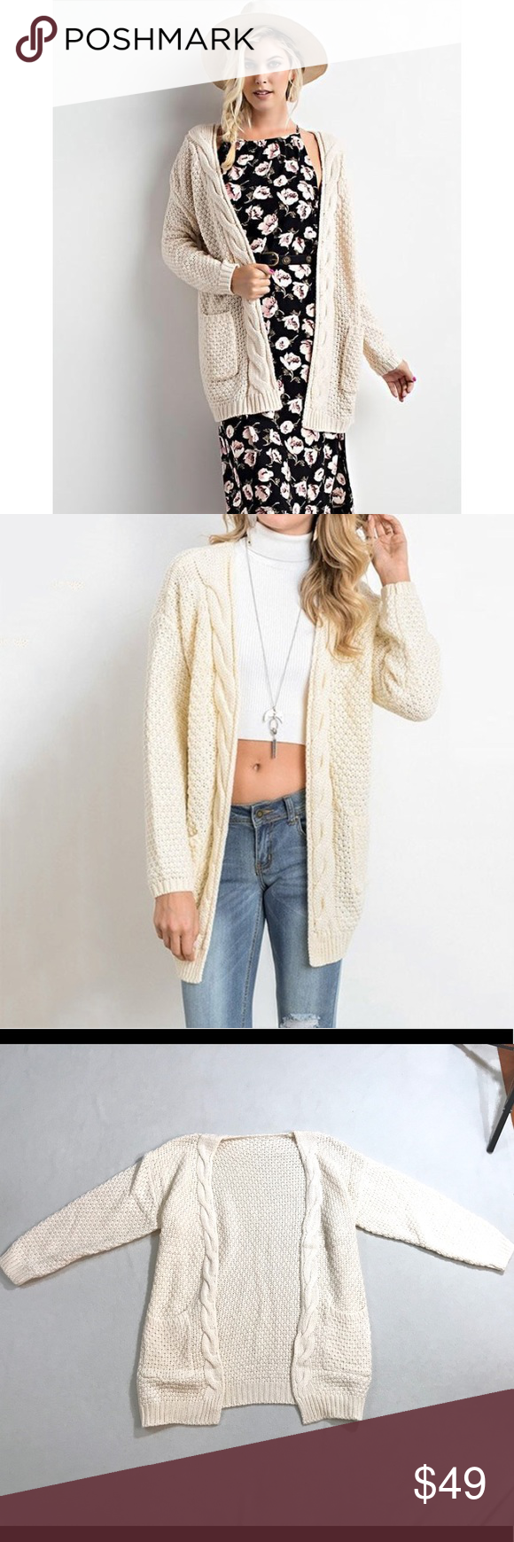 Cream Cable Knit Cardigan Sweater Super cute warm cable knit ...