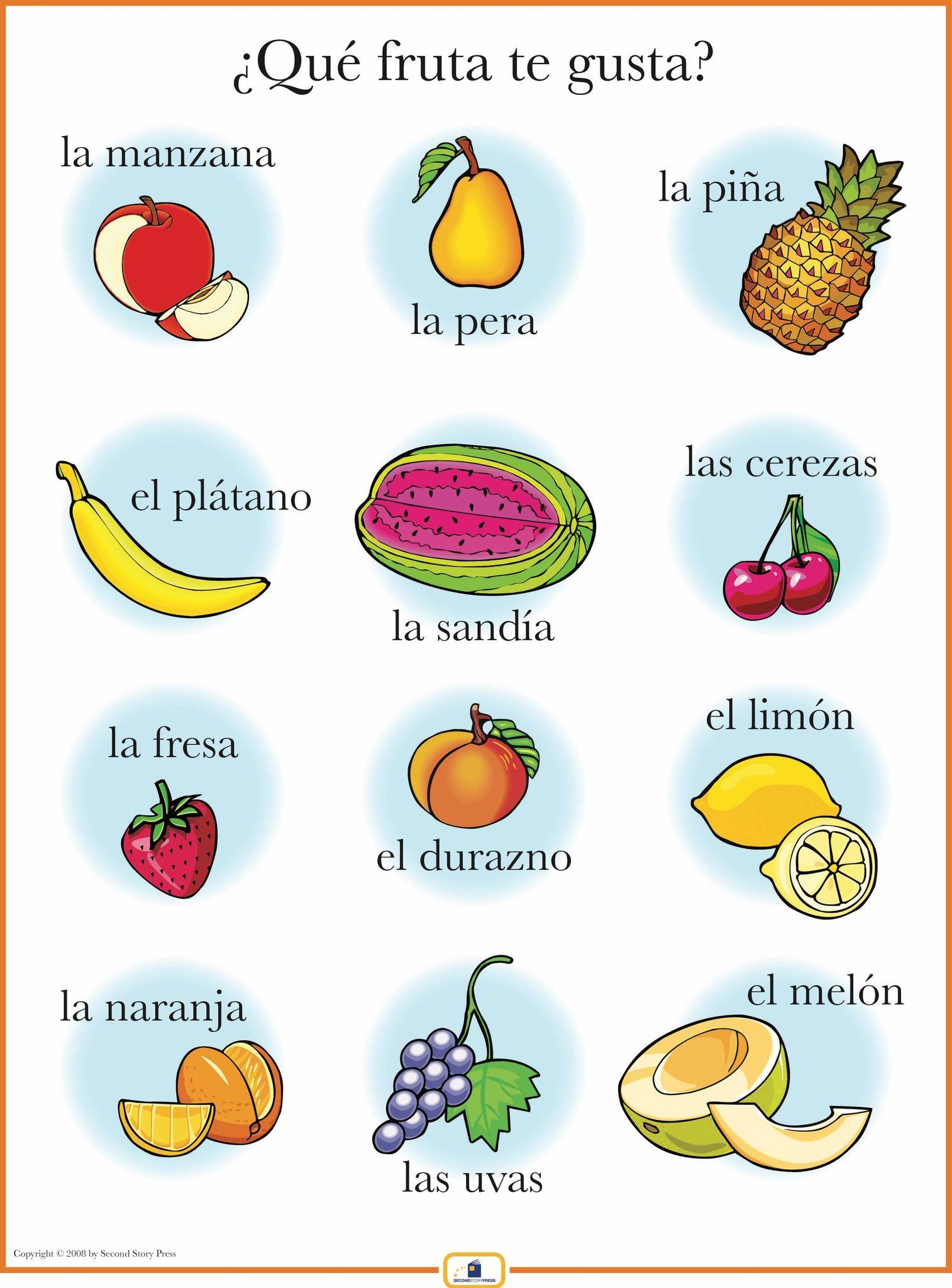 Spanish colors for preschool - Spanish Fruits Poster