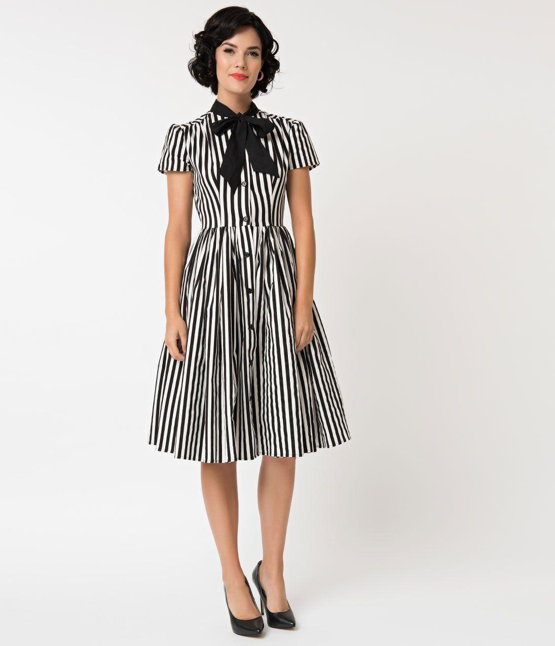 100db99da27a Unique Vintage 1950s Style Black   White Striped Button Up Swing Dress