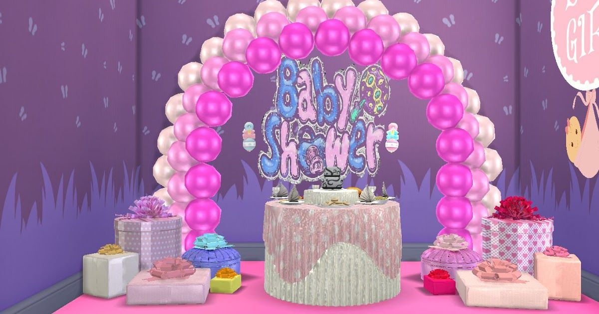 The Sims 4 Custom Content Cc Bundle Of Joy Baby Shower Party Items Set Sims Baby Sims 4 Sims 4 Custom Content