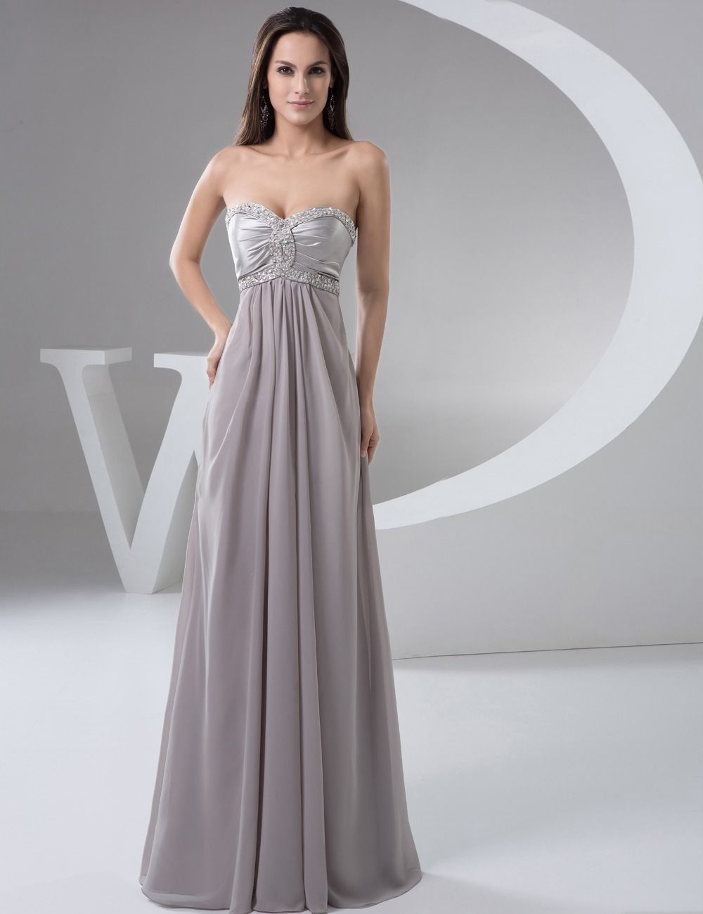 Elegant Bridal Summer Dress Royal Grey Chiffon