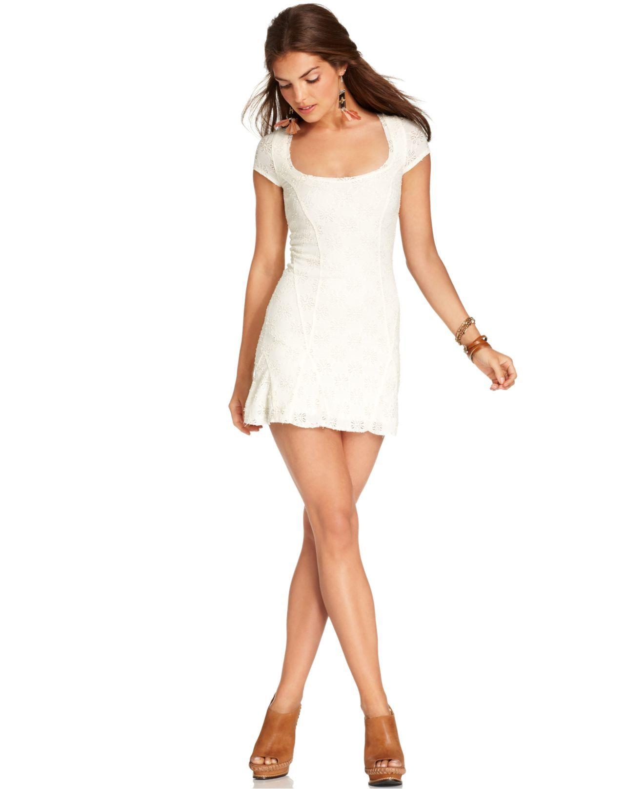 Macys womens dresses wedding  Free People Dress ShortSleeve ScoopNeck Lace ALine  Womens
