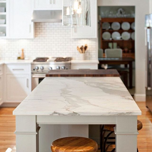 Honed marble looks so chic in a kitchen. #honedmarble #Marble #kitcheninspo #remodel #stoneconnection #atlanta #norcross #georgia