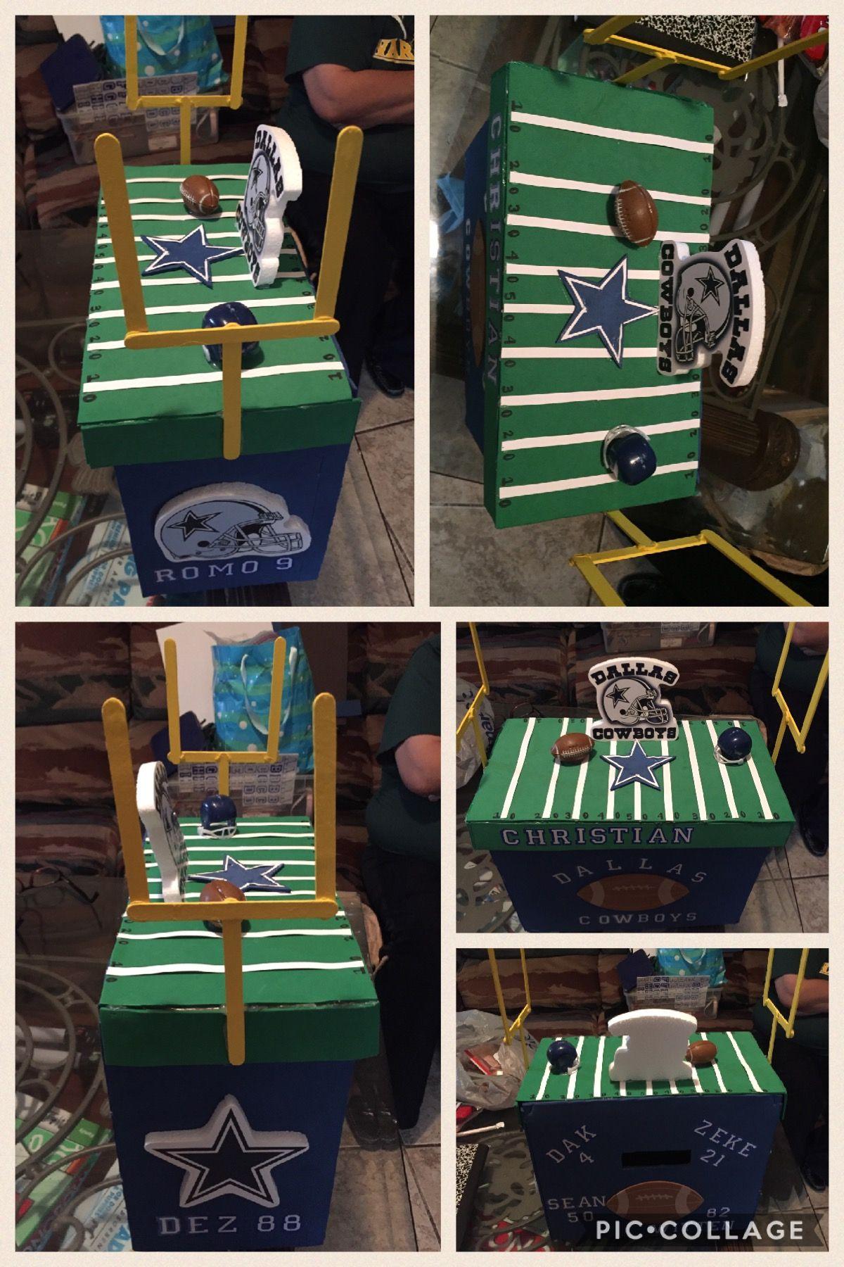 Dallas Cowboys Valentine box  #valentinebox #dallascowboys #texas #cowboys #cowboystheme #boys #girls #msgme