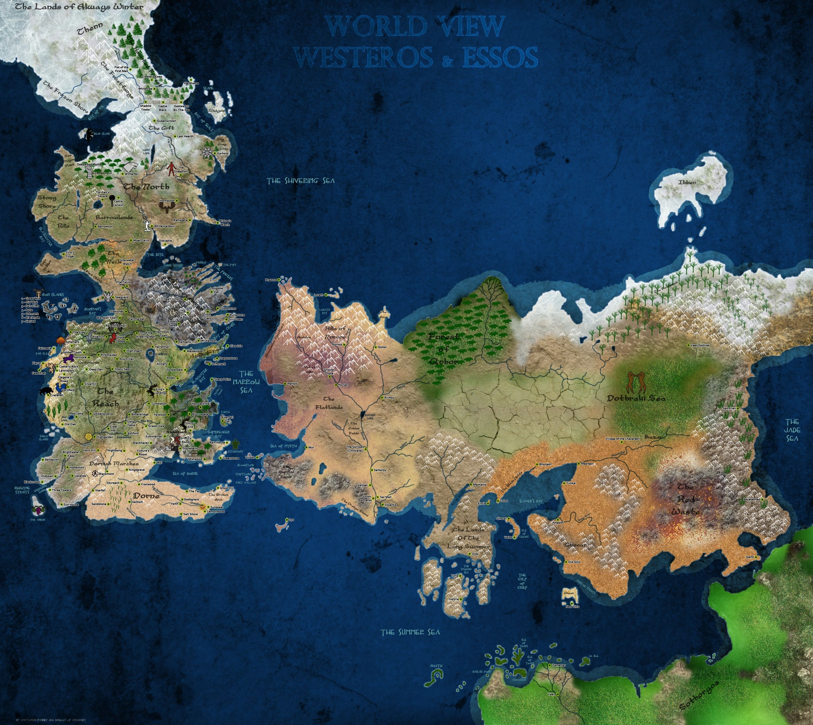 Best game of thrones map ive seen so far random pinterest game of thrones world view westeros essos map fabric poster decor 62 gumiabroncs Image collections