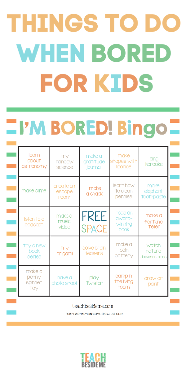 I'm Bored Bingo- Educational Things to Do When Bored