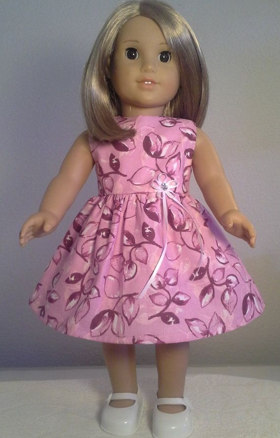 American Girl Doll Clothes Handmade 18 inch Pink Purple Leaf Print Dress made for American Girl Our Generation
