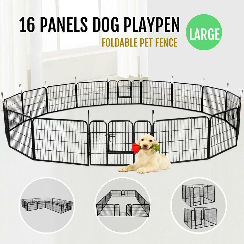 "24/""Tall Dog Playpen Crate Fence Pet Play Pen Exercise Cage 8 Panel Yard Pens"