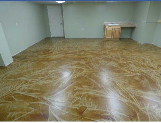 Floor Stained With Water Based Stain Using Special Mottling Technique Concrete Staining
