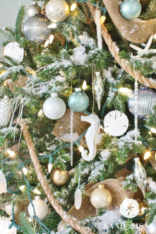 Coastal Christmas Home Tour Part 1 Sand And Sisal Coastal Christmas Decor Coastal Christmas Tree Beach Christmas Decorations