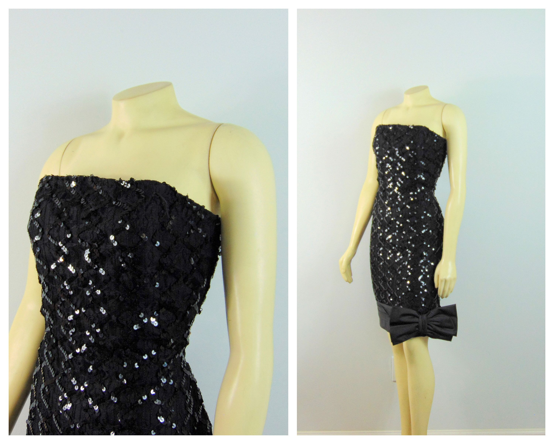 Vintage dress s prom dress black sequin big bow dress s