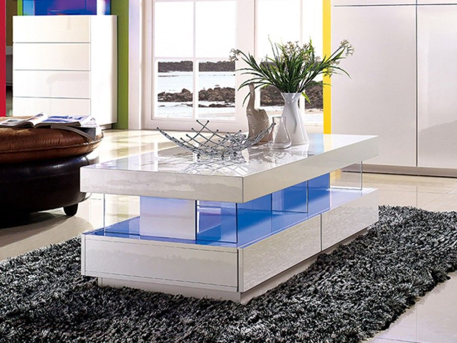 table basse fabio mdf laque blanc leds