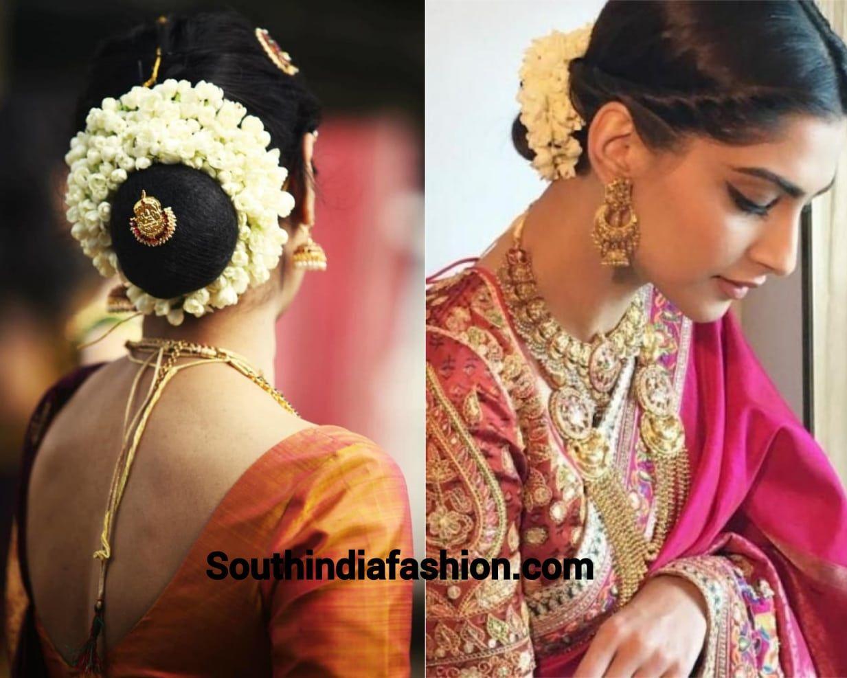 Indian Wedding Bun Hairstyle With Flowers And Gajra Bridal Hair Buns Bridal Bun Bun Hairstyles