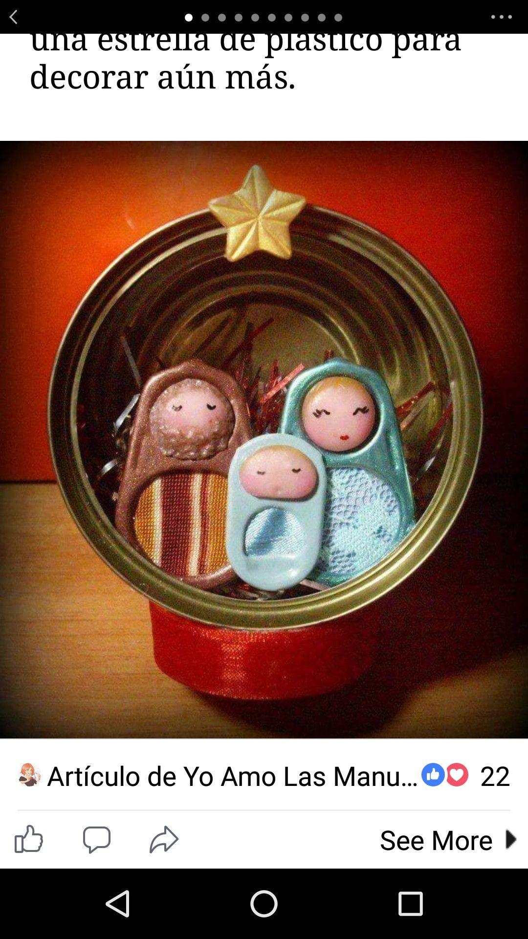 Lata De Atun Con Belen Estrella Diy Manualidades Navidenas Navidad Reciclada Belenes De Navidad