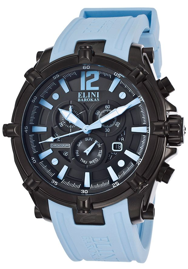 Image for Men's Fortitudo Chronograph Black Dial Light Blue Silicone from World of Watches