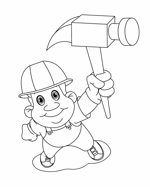 Construction Worker On Labor Day Coloring Page Color Luna Coloring Pages Coloring Pictures Construction Worker