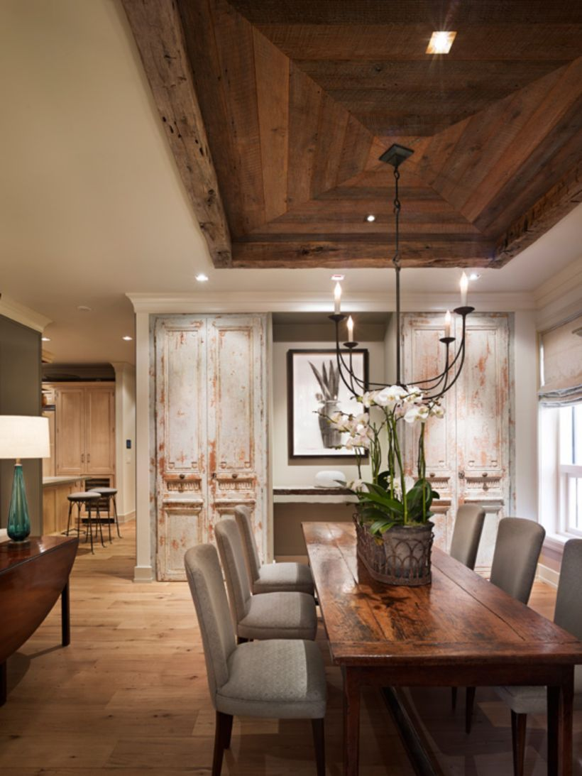 60 Rustic Wooden Ceiling Design Ideas For Your House Dining Room Ceiling Wooden Ceiling Design Reclaimed Oak Flooring