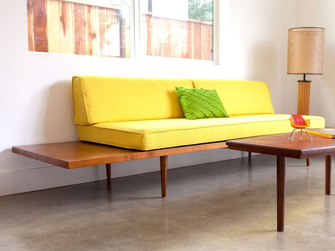 Mid Century Modern Daybed With Floating Side Tables Casara Etsy Mid Century Modern Daybed Furniture Modern Daybed