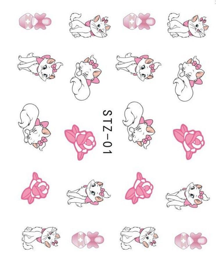 Estilo japons marca d gua 1 folhas dos desenhos animados gato estilo japons marca d gua 1 folhas dos desenhos animados gato bonito amor unhas de transferncia de gua etiqueta da arte do prego decalques decorao altavistaventures Image collections