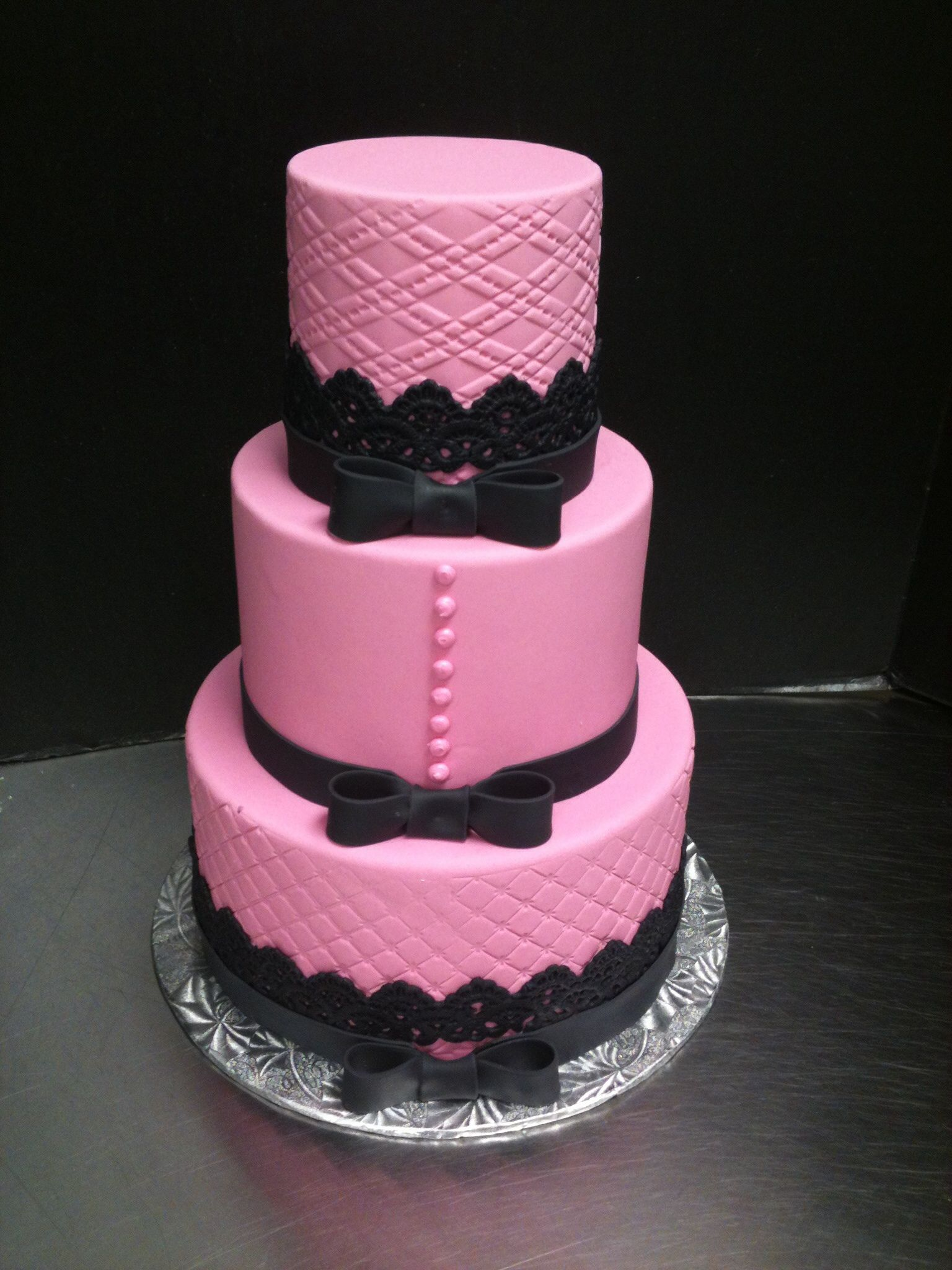 Pink and black lace cake My cakes Pinterest
