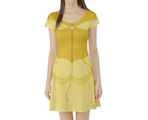 852b926249411 Belle Beauty and the Beast Inspired Short Sleeve Skater Dress ...