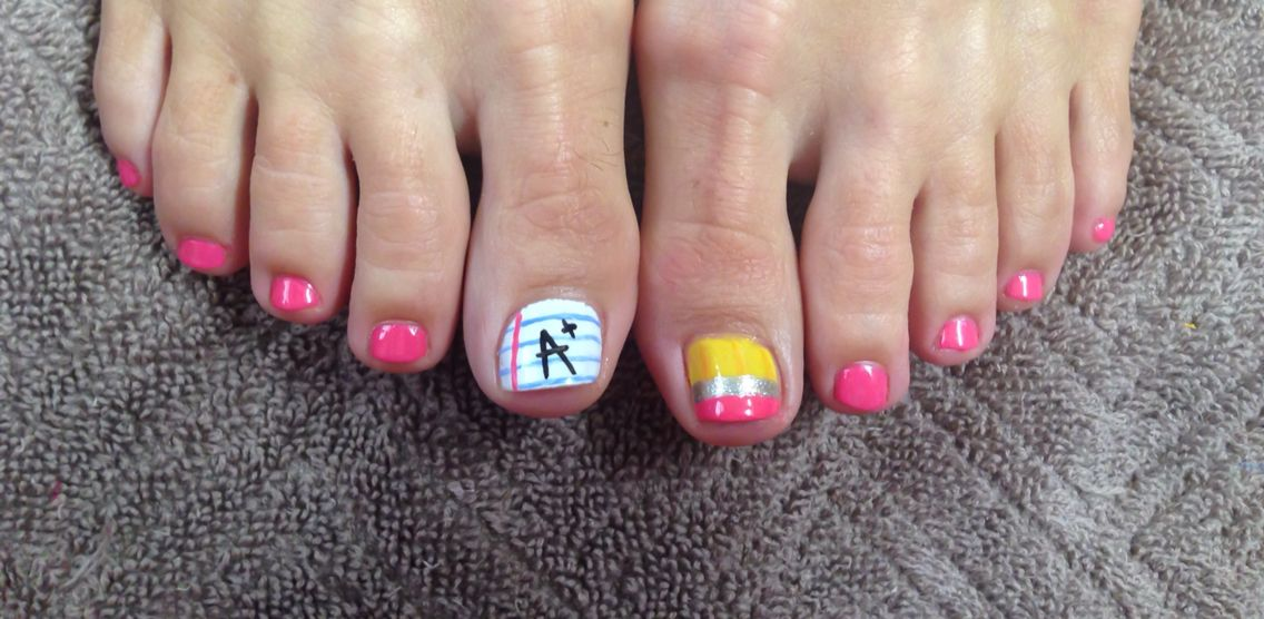 Sheree's back to school toes ) Teacher nails, School