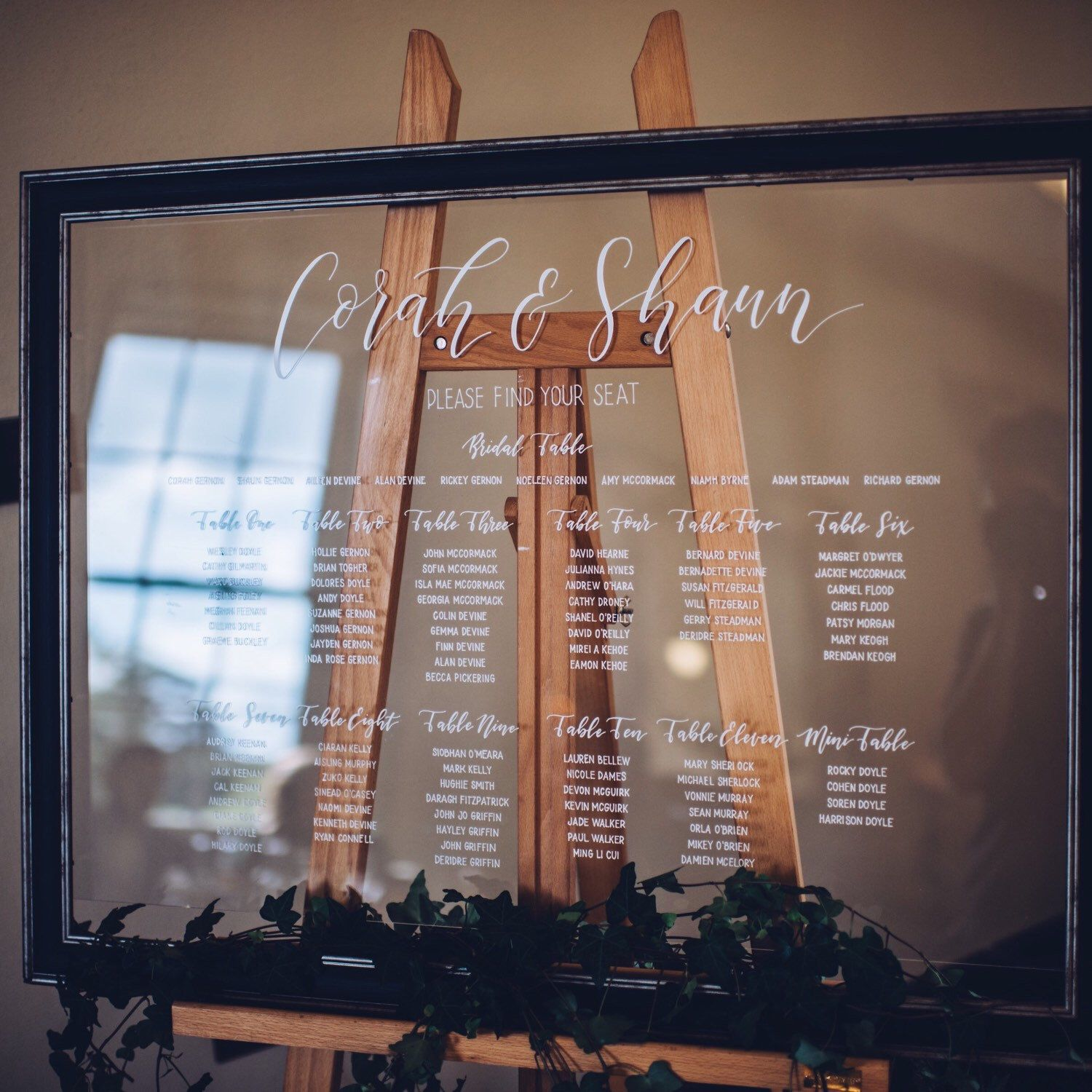 Acrylic Wedding Table Seating Chart. Seating Sign. Event