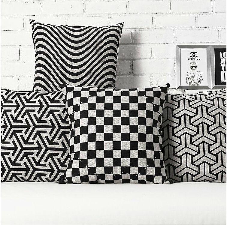 c9305175e37b41 Barato Ikea Nordic listras pretas geométrica de linho de algodão ...
