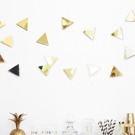 Umbra Set of 16 Brass Confetti Wall Triangles | TLC - Home Decor ...