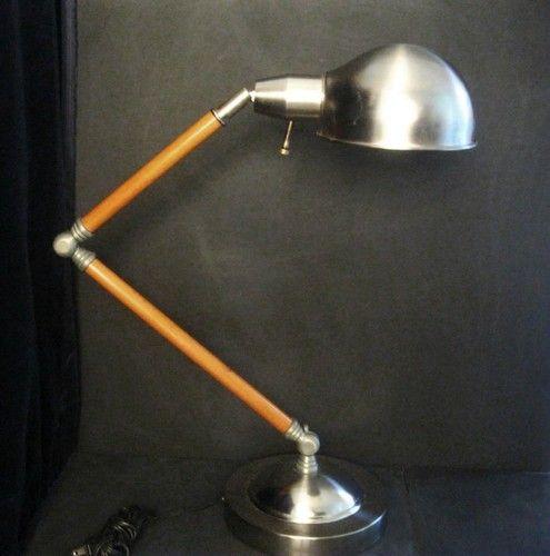 Vintage Industrial Age Wood Metal Articulating Task Lamp