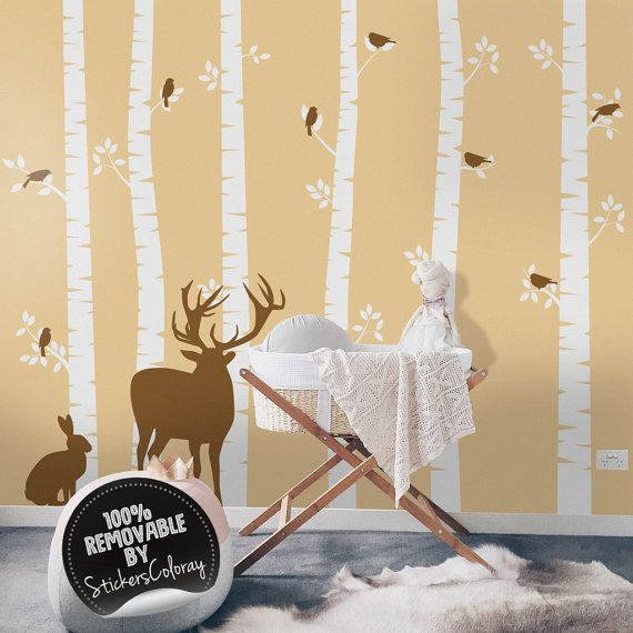 Deers and trees wall decal, Trees wall decor, Woodland wall decal ...