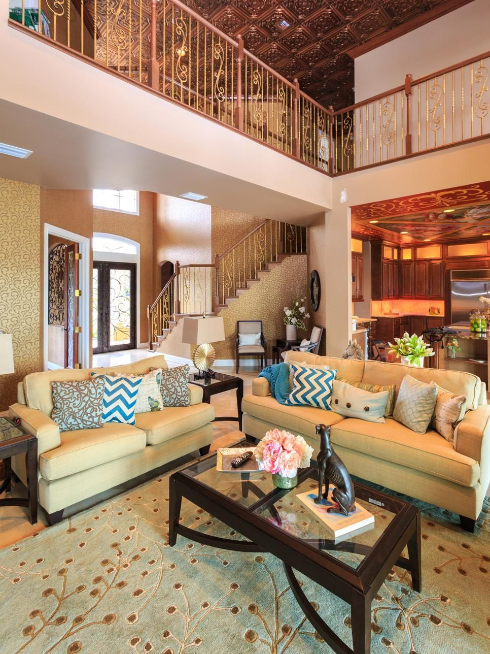 After Warm Beige And Copper Hues And Ample Furnishings Help Bring