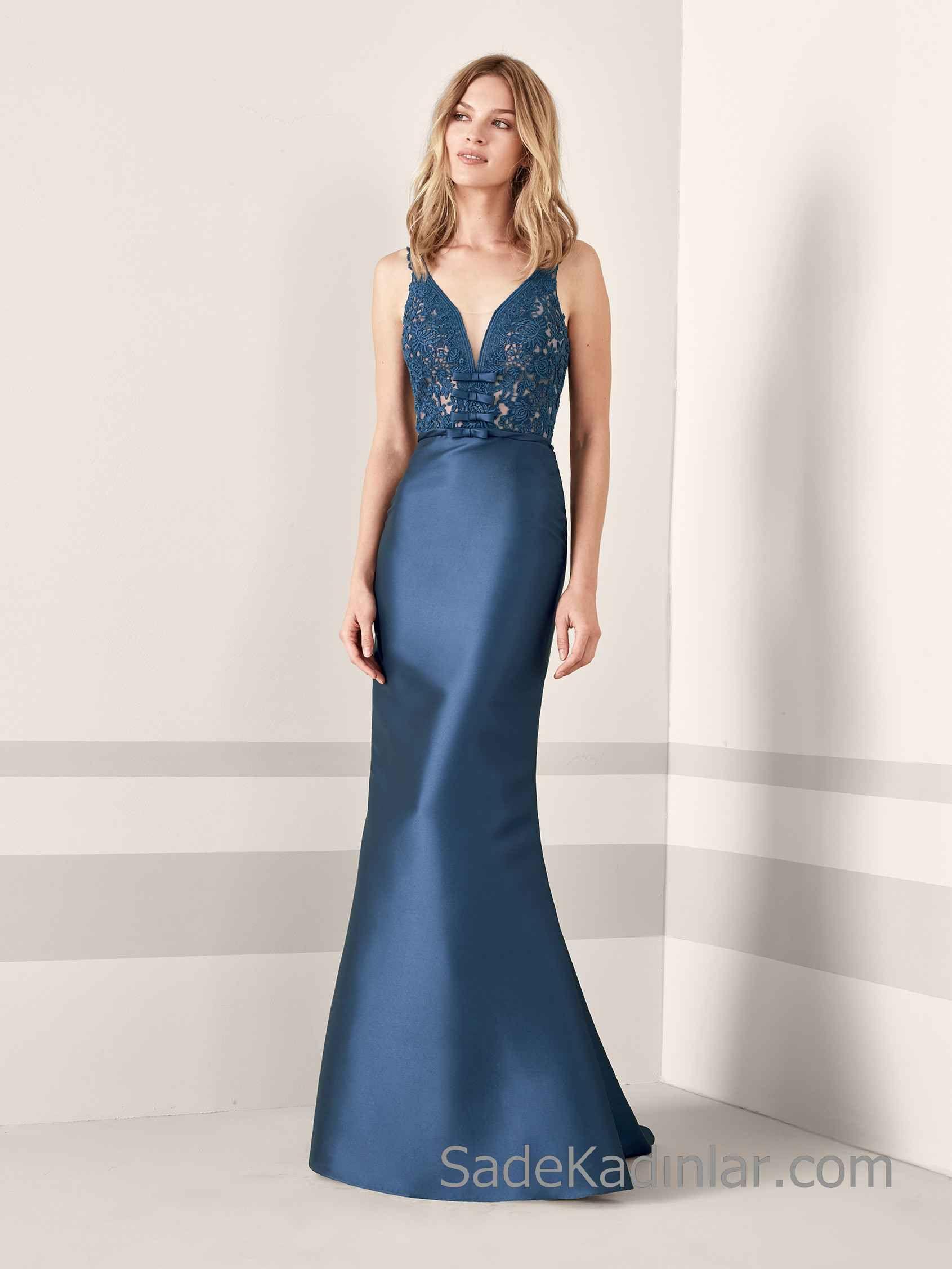 Pronovias 2020 Abiye Elbise Modelleri Lacivert Uzun Balik Askili Derin V Yakali Dantelli Aksamustu Giysileri Dantel Gelinlik Dantel Elbise