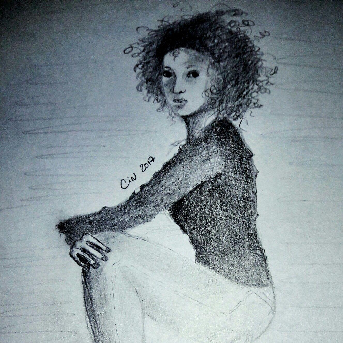 Cintyart drawing pencil dibujo a lapiz mujer con rulos  Cintyart