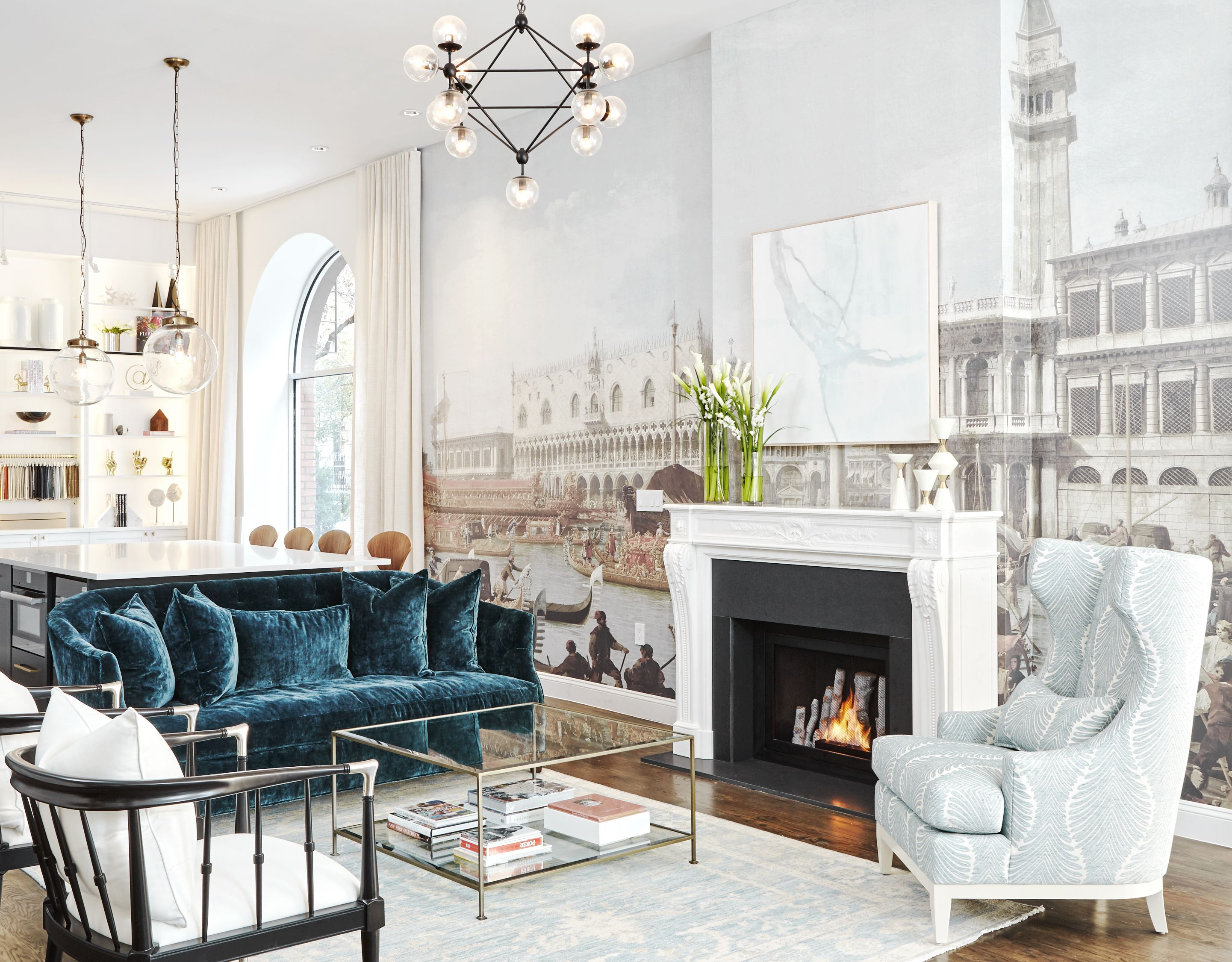 Stunning Design By Kathy Kuo Home Featured In Architectural Digest Magazine Ventless Fireplace Tall Bla Modern Classic Furniture Home Coastal Living Room