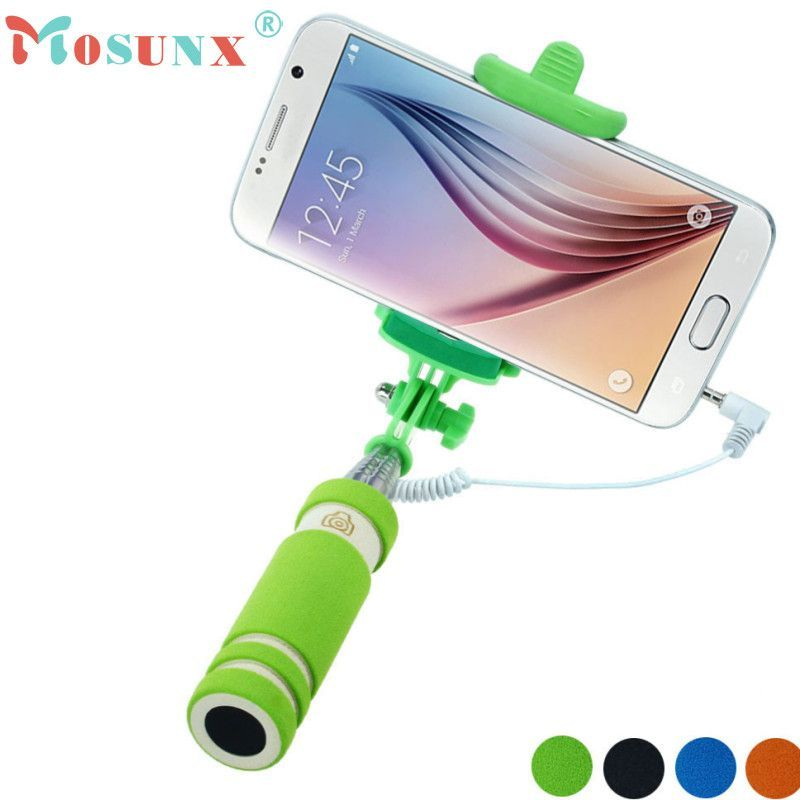 Mosunx Wired Selfie Stick Handheld Monopod Built-in Shutter Extendable +Mount Holder For iPhone Samsung Any Phones Selfie Sticks
