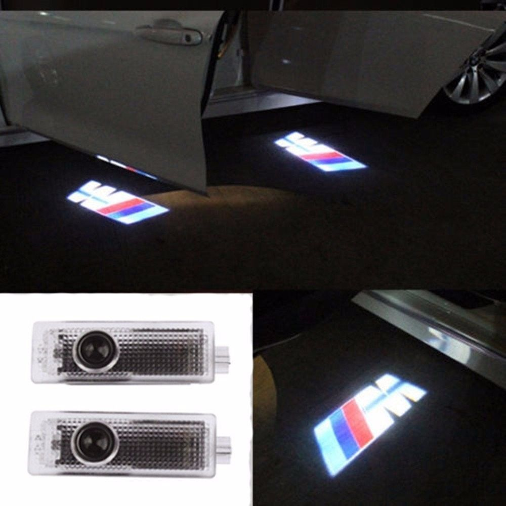 Pack of 2 bmw m power car door led logo light ghost shadow projector laser