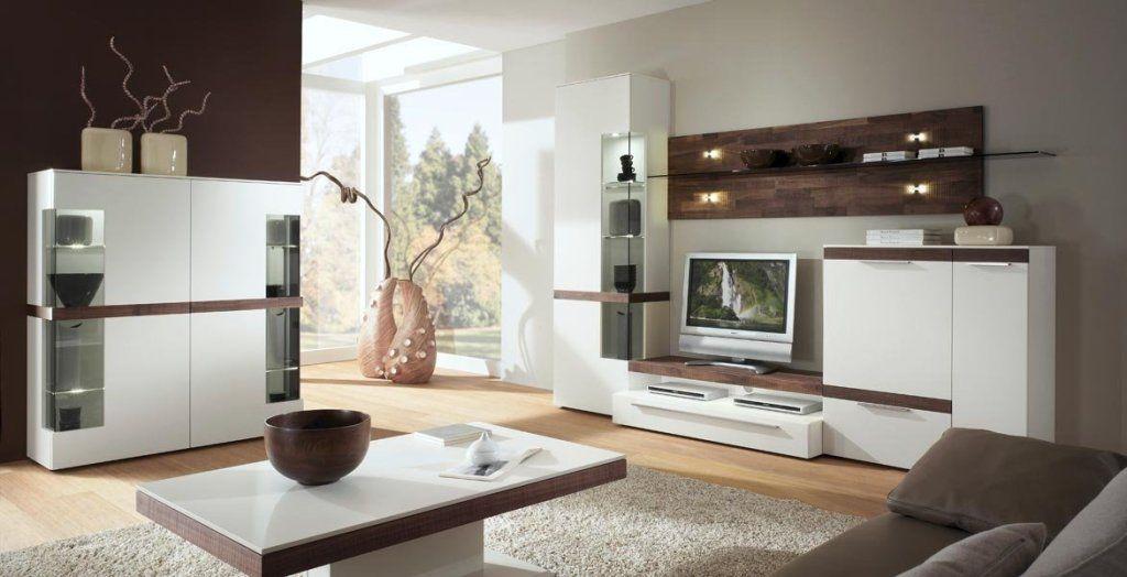 Gwinner Wohnwand Weiß Nussbaum Wohnzimmer Stauraum