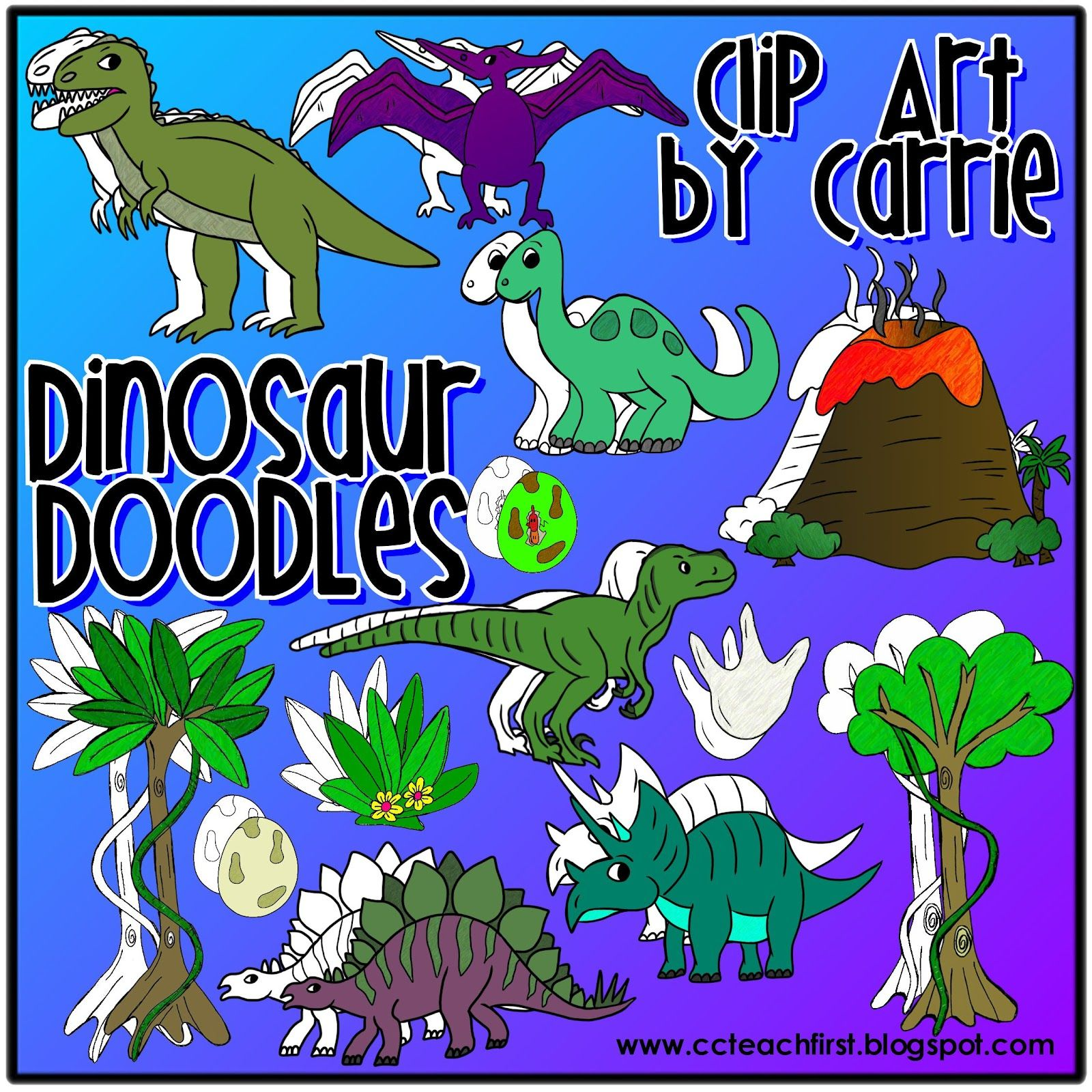 Dinosaur Doodles By Clip Art By Carrie Teachfirst