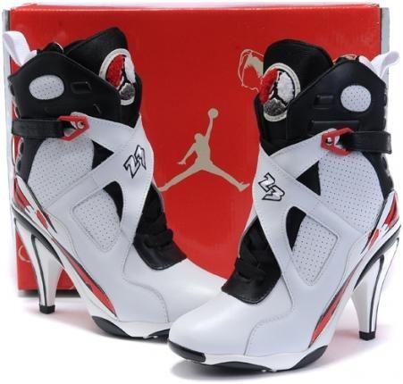 size 40 2279c 34529 asneakers4u.com Air Jordan 8 High Heels White Red Black0. Nike ...