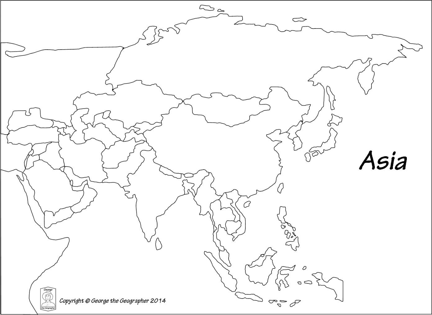 Asia Map Blank Within South