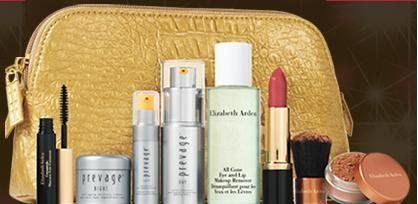 NEW! Elizabeth Arden 2012 9-piece Beauty Skin Care Gift Set: PREVAGE Face Advanced Anti-aging Serum + PREVAGE Day Intensive Anti-aging Moisture Cream SPF 30 + PREVAGE Night Anti-aging Restorative Cream + All Gone Eye and Lip Makeup Remover + Ceramide Ultra Lipstick in Coral + Pure Finish Mineral Bronzing Powder + Kabuki brush + Ceramide Lash Extending Treatment Mascara in black + Gold Cosmetics Bag $69.99