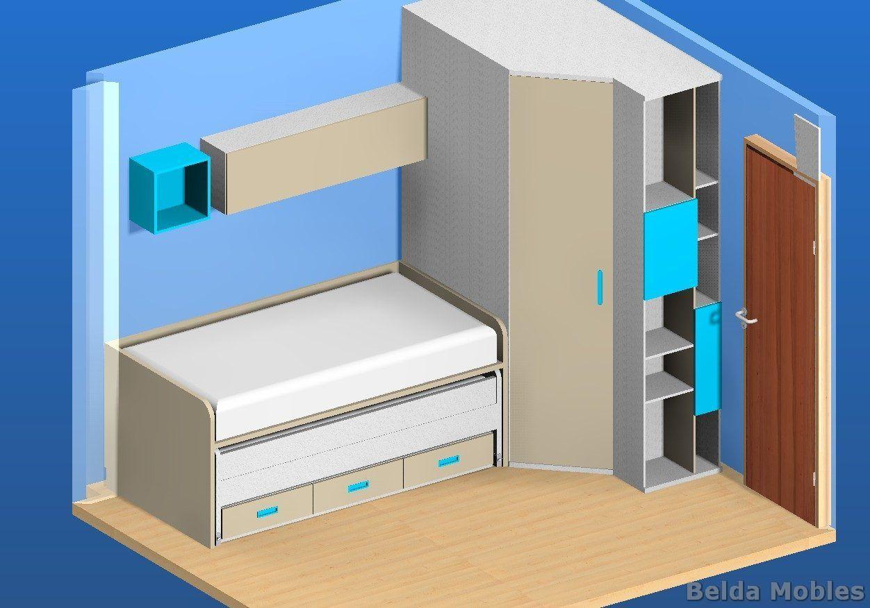 Proyecto 3d de muebles belda para habitaci n juvenil a for Muebles juveniles a medida