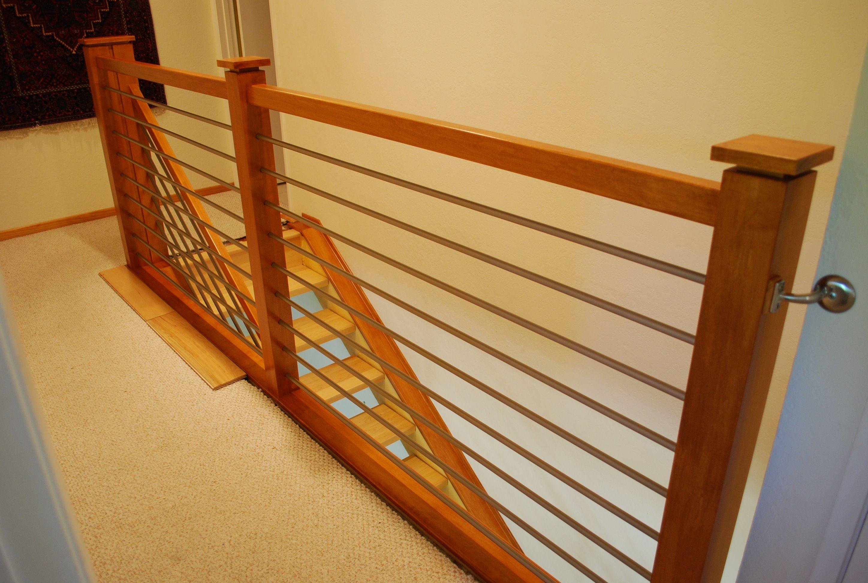 Horizontal Wood Stair Rail