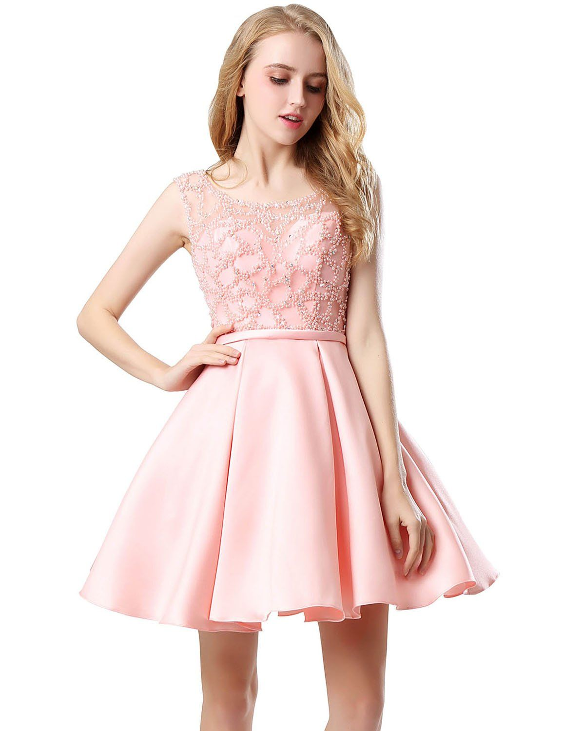 cf06f4ec2d Belle House Satin Homecoming Dresses Short 2018 For Juniors Sheer Neck  Party Graduation Ball Gowns With Beading A Line Cocktail Dress Pink      Details can ...