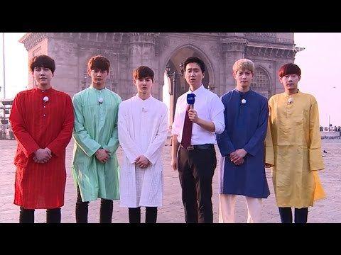 """El elenco del espectáculo de variedades de KBS 2TV """"Fluttering, India"""" (agita la India? >.<) Kyuhyun de Super Junior, Minho de SHINee, Sunggyu de INFINITE, Jonghyun de CNBLUE y Suho de EXO ..."""