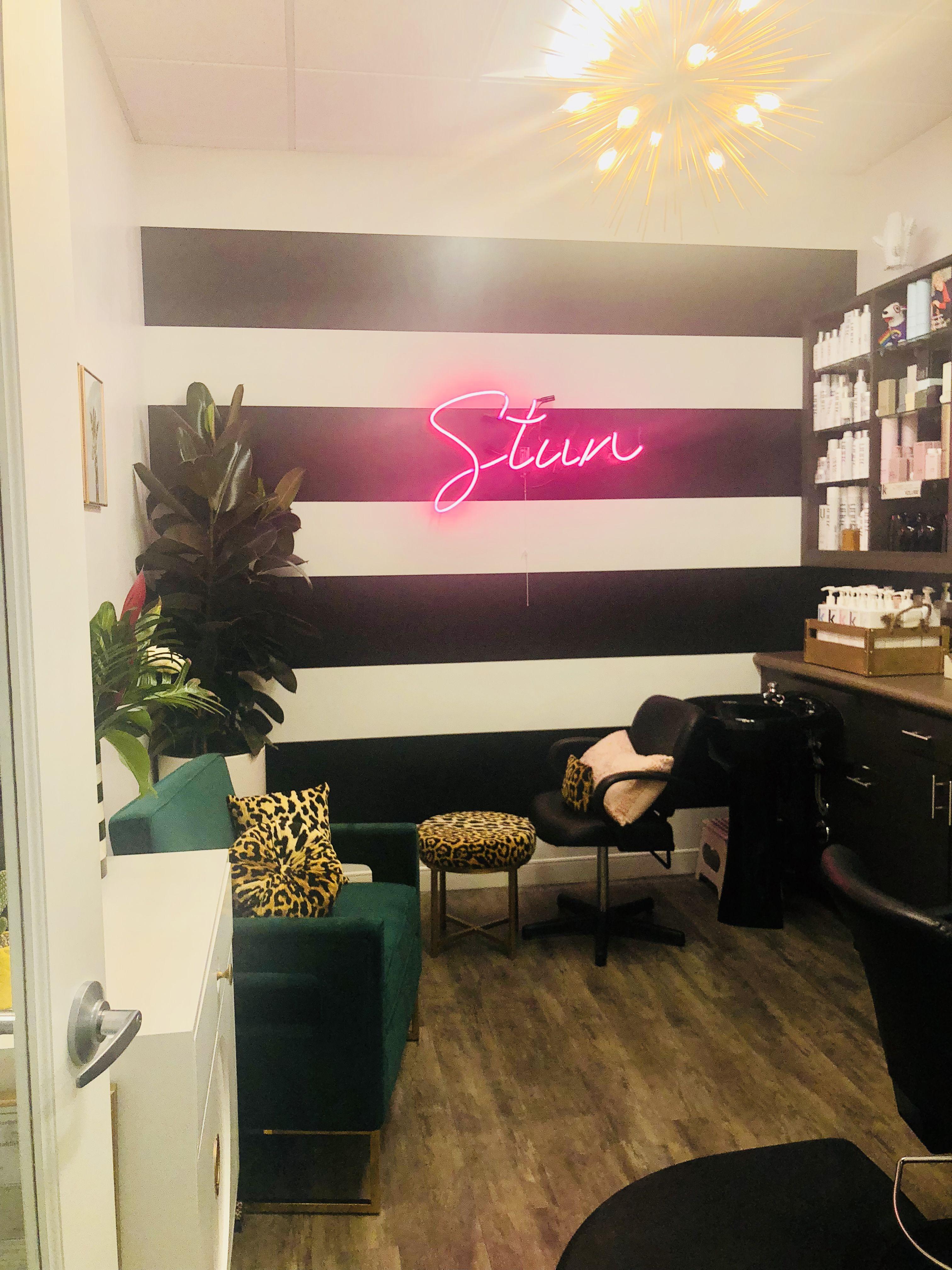 Stun Studio Salon Alamo Ca Salon Suites Studio Salon Black And White Striped Wall Neon Sign Pink Neo Salon Suites Decor Salon Interior Design Home Hair Salons