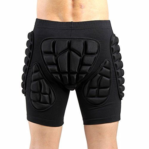 3D Padded Shorts Protective Hip Butt Pad Ski Skate Snowboard Skating Skiing Hockey Riding Impact Protection Drop Resistance Roller Derby Compression Pants (XXL(29-36))