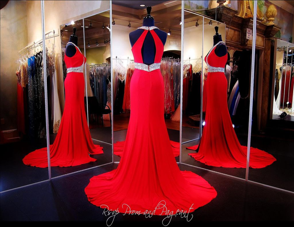 Red Jersey Prom Dress-Cut Outs-Beaded High Neck-Open Back | Rsvp ...